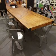 Antique Bentall Cast Iron Engineers Base Dining Table and Chairs
